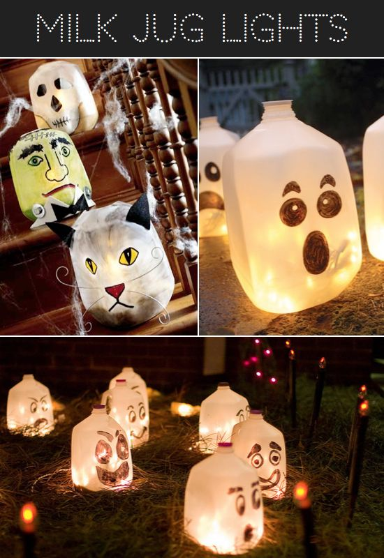 Milk Jug Halloween Luminary Ideas from Kids Kubby. Let the kids create the faces and add string lights from http://www.partylights.com/Mini-Lights