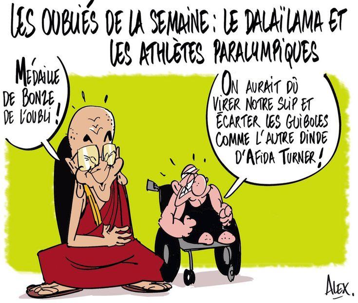 Alex dessinateur – @Alexdessinateur (2016-08-17) les oubliés de la semaine !  #DalaiLama # JO paralympiques . -  Dessin dans le @CourrierPicard du 17.09.2016 :