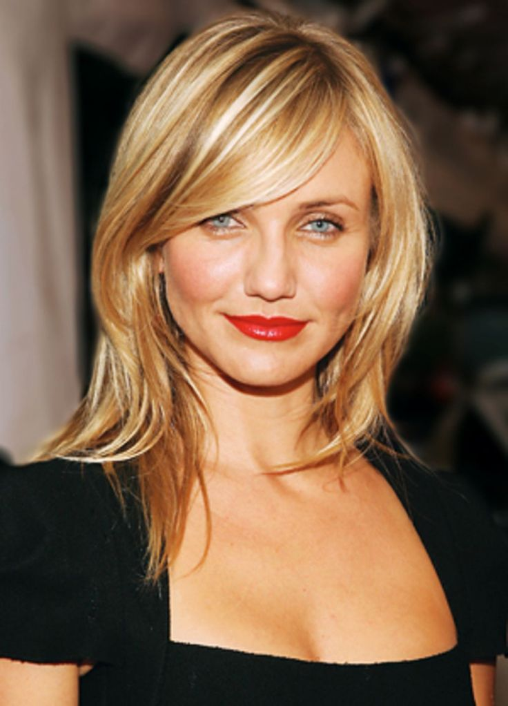 A Beautiful And Pretty Look From Cameron Diaz Hairstyles Will Make More Confident : Cameron Diaz Haircut Simple Nice Look Impression , This Style Is Using Medium Straight Hair This Style Is Using Thinning Scissor For Cut The Hair Point