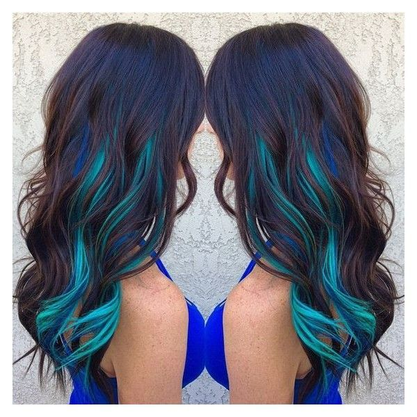 Brown Hair WIth Blue and Turquoise Streaks Hair Colors Ideas ❤ liked on Polyvore featuring beauty products and haircare