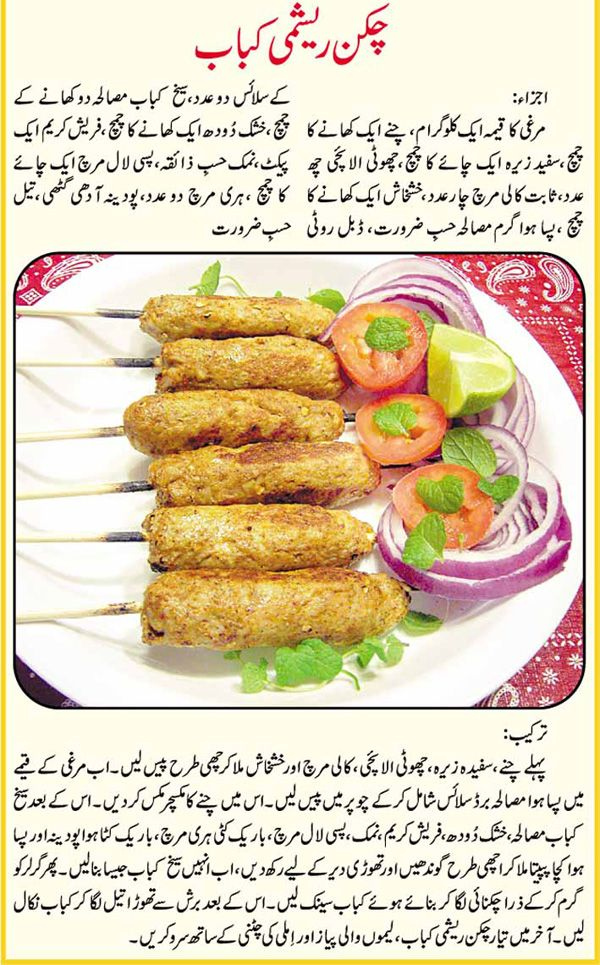 Recipe for making chicken reshmi kabab