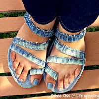 Recycle jeans, into sandles. http://theekissoflife.blogspot.com/2013/07/upcycled-denim-sandals-tutorial.html