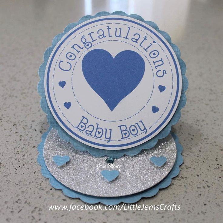 New baby boy card - circle easel style - handmade card by MintsDesigns on Etsy