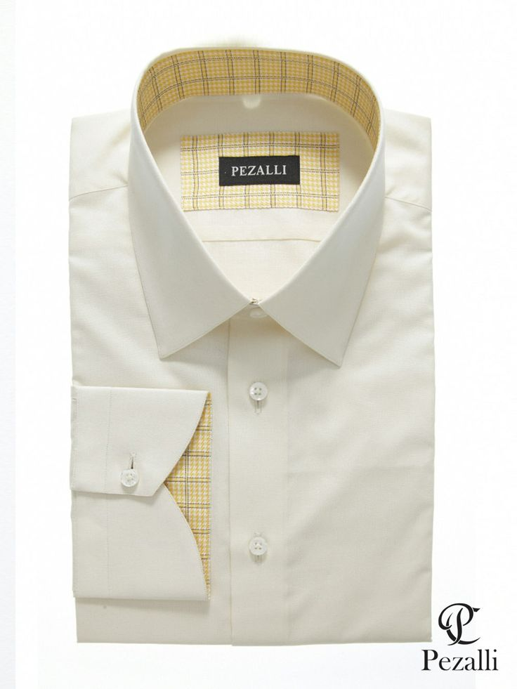 100% Egyptian Cotton shirt in off white with yellow checks trims on inner cuff and inner collar.