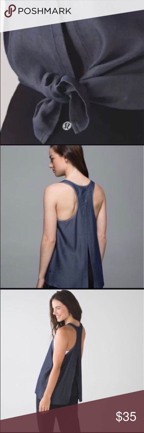 Lululemon All Tied Up Tank Dark Blue Grey Dark denim color. Great Tencel lightweight breathable material. Logo on the bottom of Tank. Versatile. Worn once and hung dry. lululemon athletica Tops Tank Tops