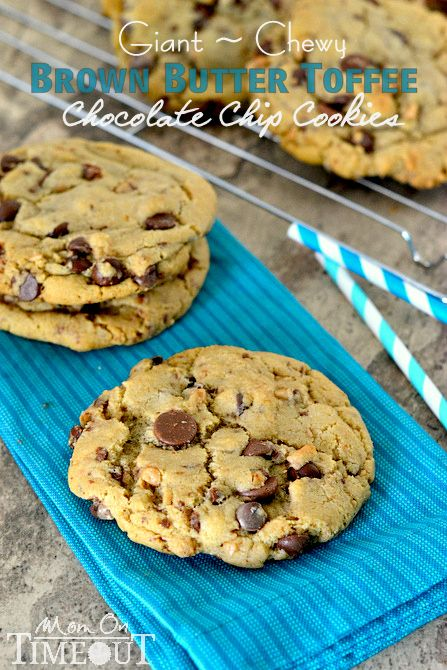 Giant, Chewy Brown Butter Toffee Chocolate Chip Cookies from MomOnTimeout.com