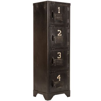 "Antique Black Metal Storage Locker-- or put it on top of this if you need some serious height (46""!)"