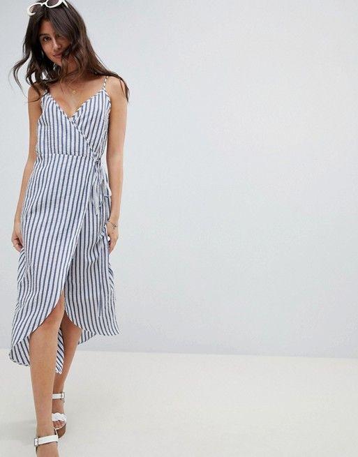 6b7cedf1895 DESIGN seersucker cami wrap maxi dress in stripe