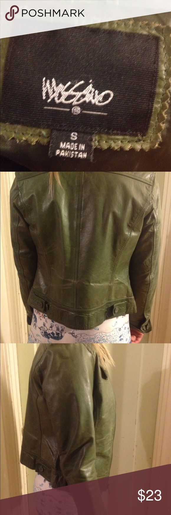 Green leather jacket!! Very cute green leather jacket. Great condition. Mossimo Supply Co Jackets & Coats Utility Jackets