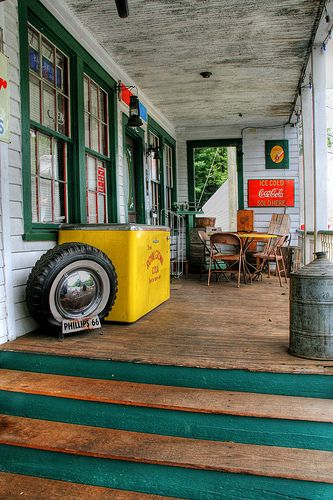 The front porch of the old country store in Rockbridge County in the Blue Ridge Mountains of Virginia…
