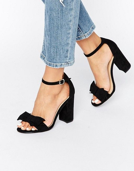 New Look | New Look Bow Detail Barely There Block Heel