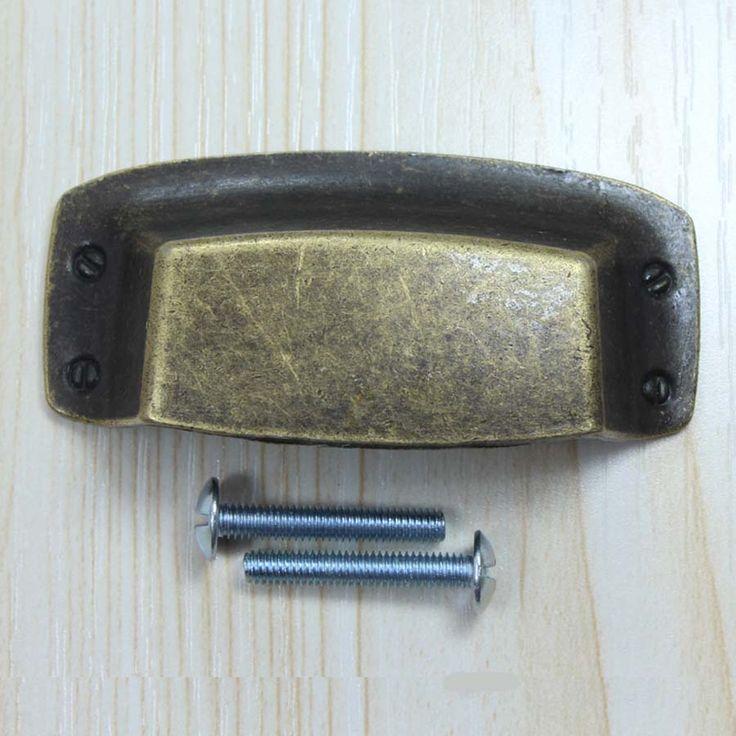 32mm vintage cap shell furniture handles bronze drawer cabinet pulls knobs antique brass decorate box medical box handle pulls #Affiliate