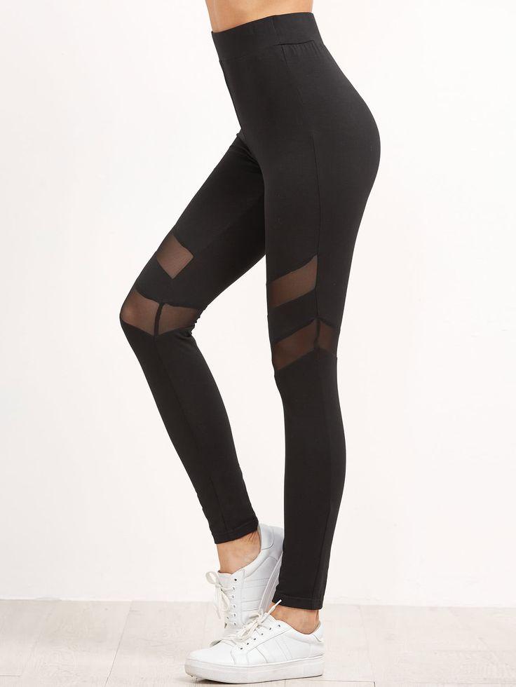 Leggins con cintura alta y panel de malla - negro-Spanish SheIn(Sheinside)