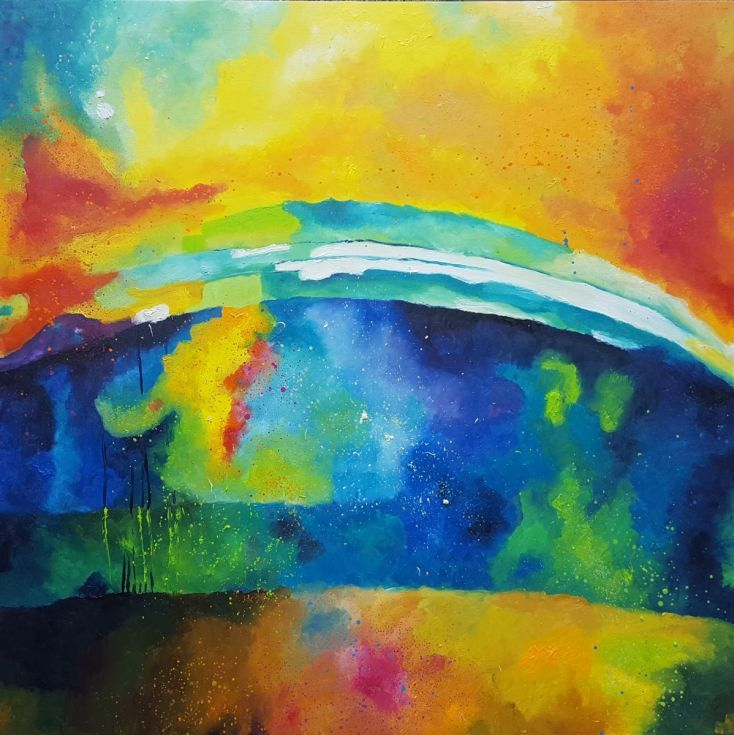Buy Hopeful future (100x100cm), Oil painting by Simon Tünde on Artfinder…
