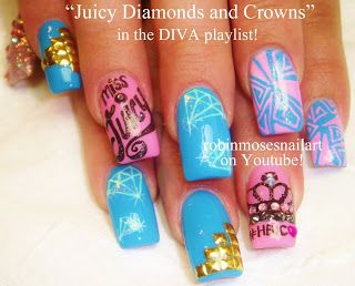 Nail-art by Robin Moses - Diamonds and Crowns Miss Juicy
