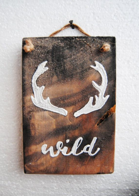 Wild one decor Attitude sign Deer antler sign Woodland