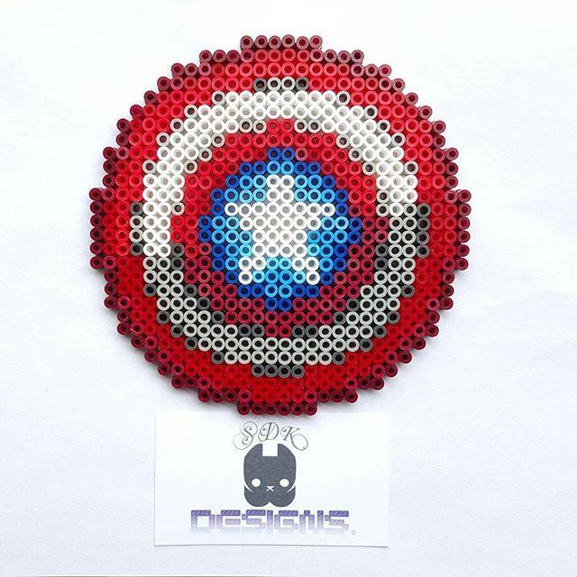 Captain America shield perler beads by sdkdesigns