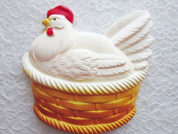 Kitchen  decor vintage Chalkware Chicken in by treasuresRtimeless