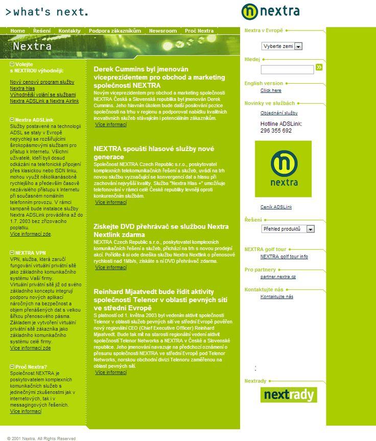 Nextra website in 2001