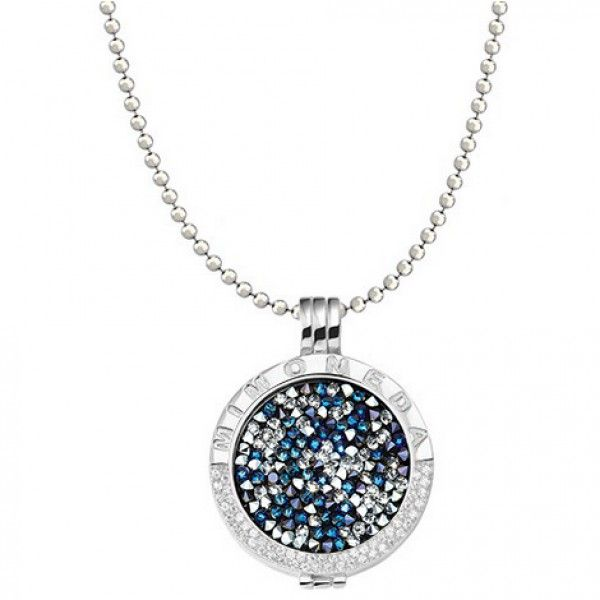 Mi Moneda 60cm silver chain with medium carrier and Deluxe multi Pacific blue Swarovski crystal coin set