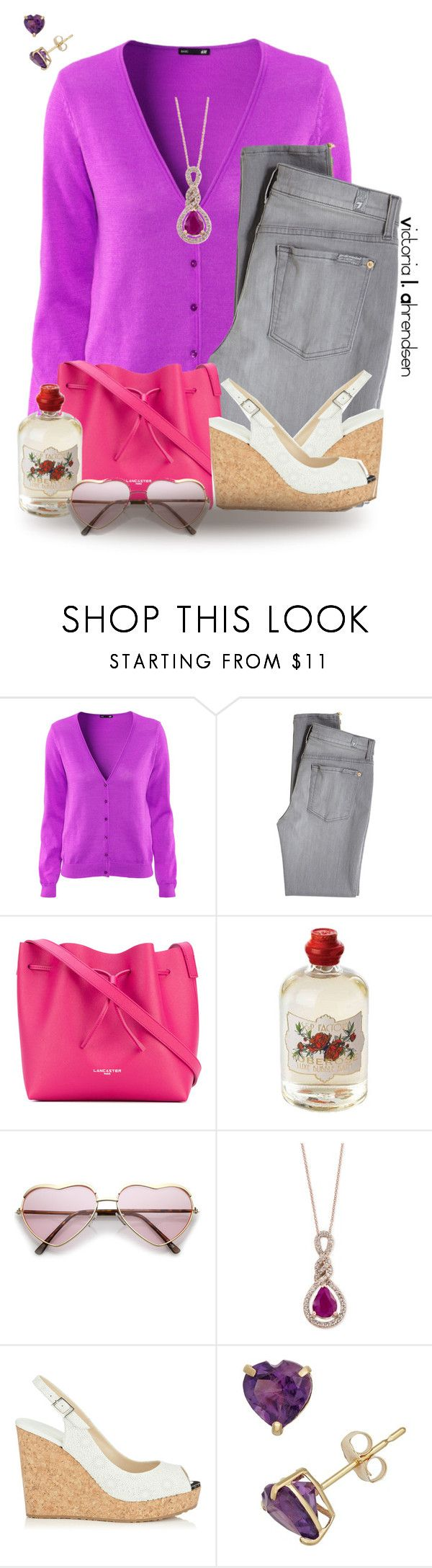 """""""Outfit Set #128! :-)"""" by vahrendsen1988 ❤ liked on Polyvore featuring H&M, 7 For All Mankind, Lancaster, Soap & Paper Factory, Effy Jewelry and Jimmy Choo"""