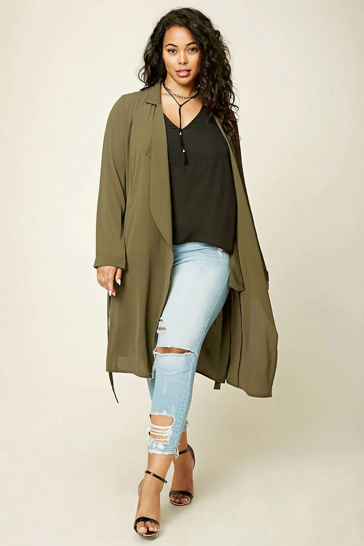 Forever 21+ - A woven trench coat featuring a belted waist, two front slanted pockets, a basic collar, and long sleeves.