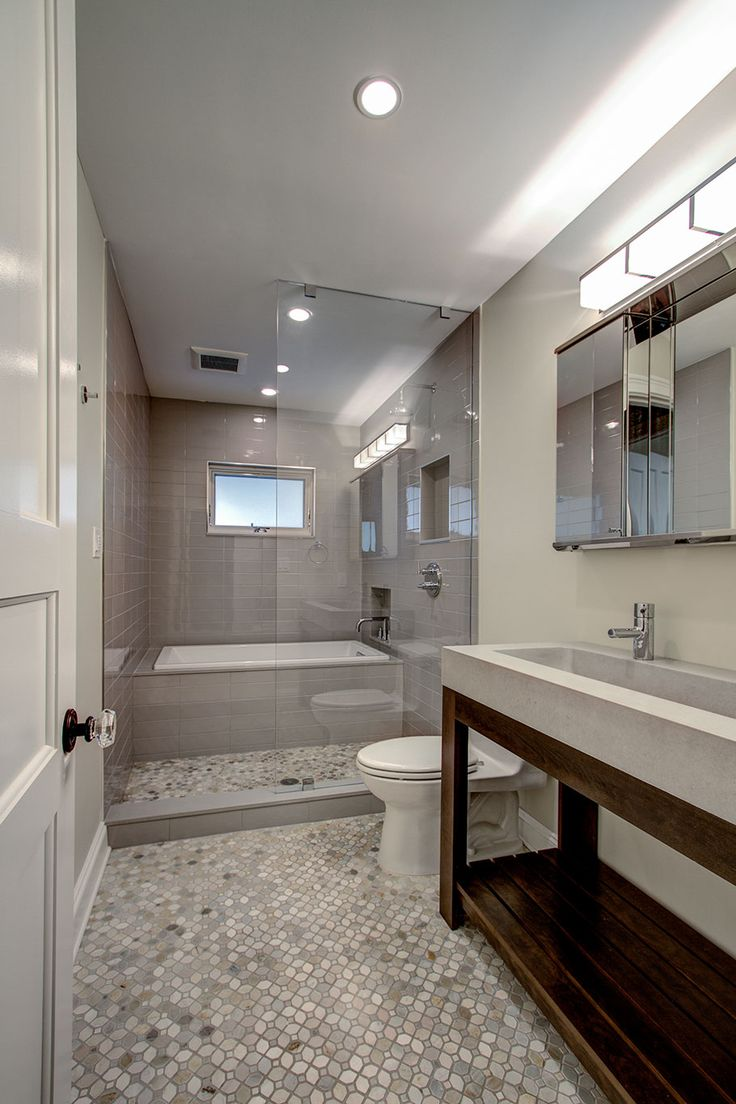 Guest Bathroom With Tub Enclosed Within Glassed In Shower Space Brownstone Renovation In Park