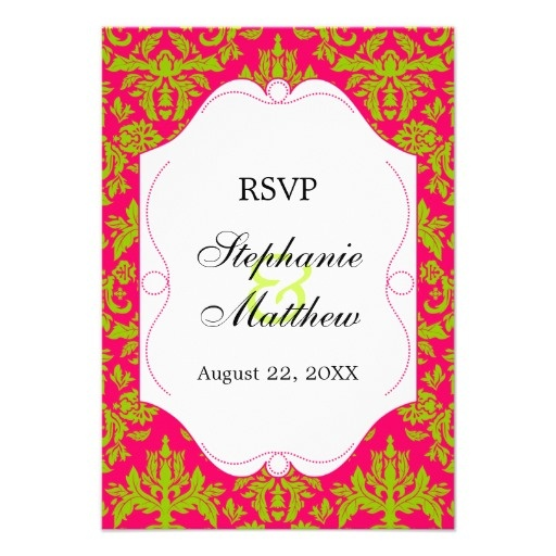 Fuchsia and Green Damask RSVP Reply Cards Custom Invitations w/ Metallic: $1.41