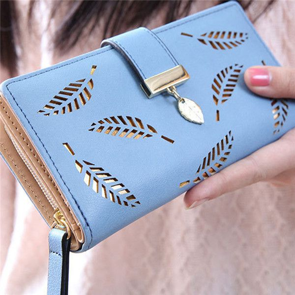 Hollow out leaf long wallets hasp zipper women ladies HB0062