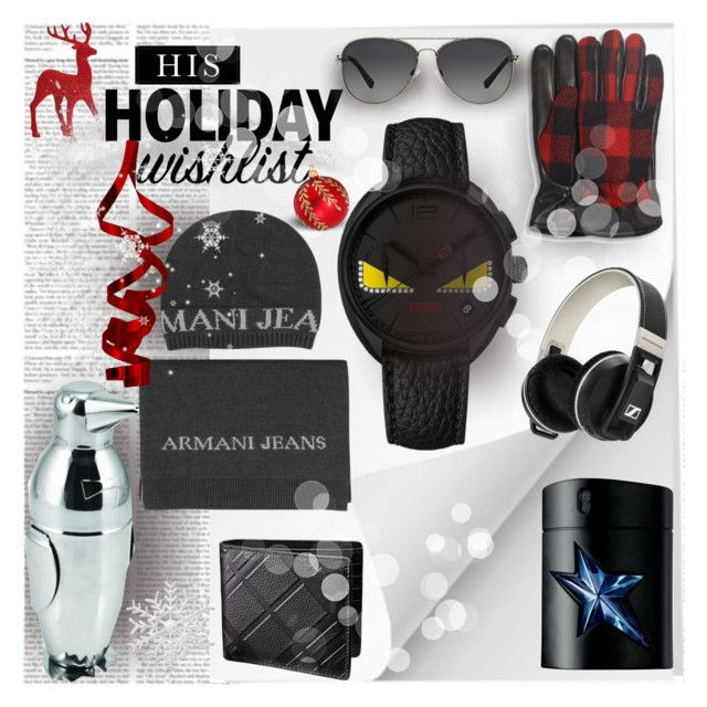His Holiday Wishlist by stylepersonal on Polyvore featuring polyvore, fashion, style, Armani Jeans, Universal Lighting and Decor, UGG Australia, Thierry Mugler, Michael Kors, Gump's, Fendi, contestentry and 2015wishlist