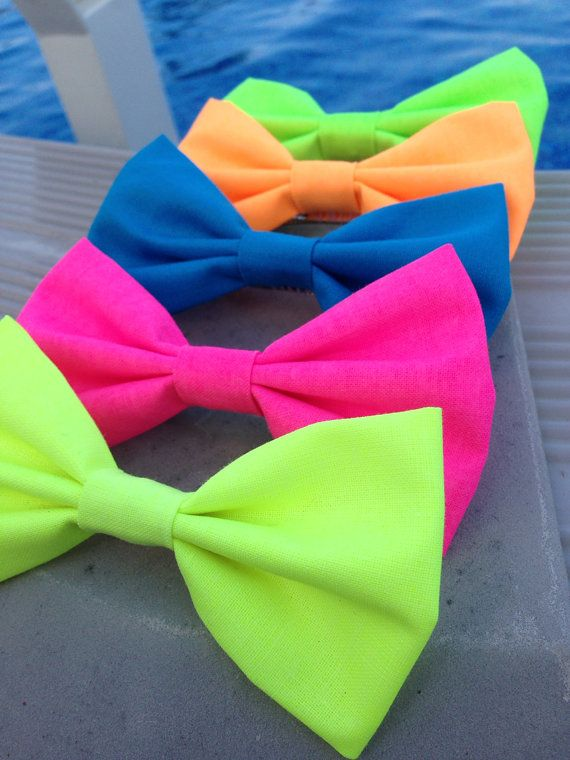 NEON hair bow / bow tie green yellow orange by kaelisAccessories, $4.00