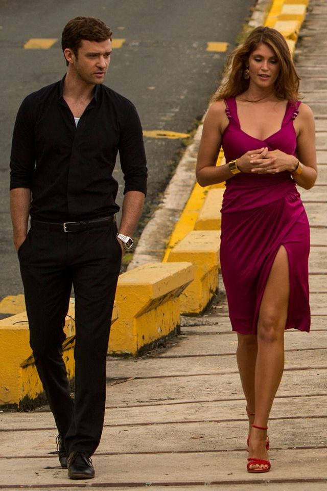 Gemma Arterton looking smoking hot with a tan and gorgeous fuchsia dress on the set of film Runner with Justin Timberlake