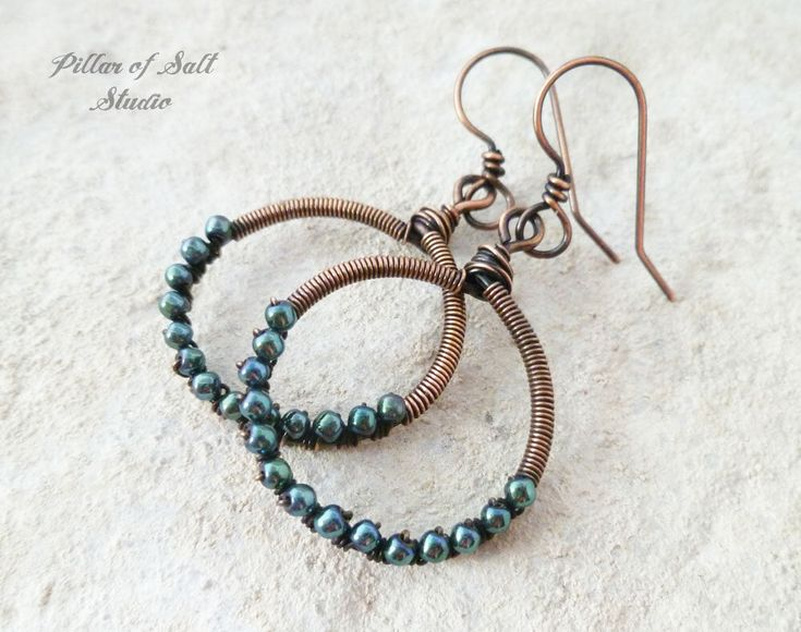 Wire wrapped earrings - Solid copper earrings - wire wrapped jewelry handmade - wire jewelry - rustic earthy boho blue hematine by PillarOfSaltStudio on Etsy https://www.etsy.com/listing/534395018/wire-wrapped-earrings-solid-copper