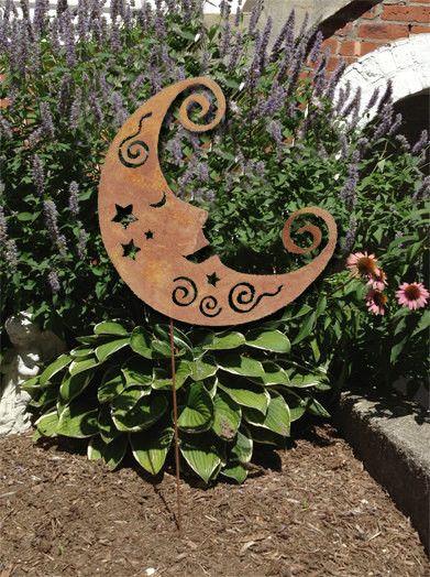 rustic moon garden stake or wall hanging - Metallic Garden Decor