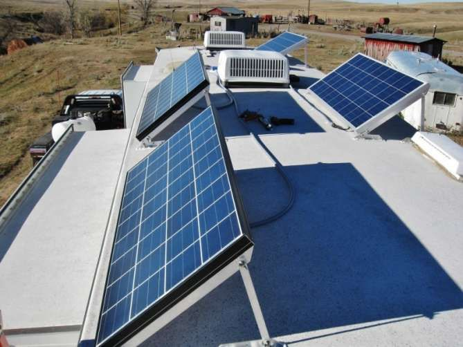 Roof Top View With Solar Panels Tillted Rv Solar Power Rv Solar Rv Solar Power System