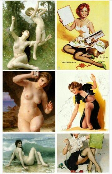 HOMENAJE O COPIA: el pintor Bouguereau, famosísimo en el s. XIX, influyó en el estilo de las chicas pin-up de la década de los 1940 y 50. Más en http://pabloortizdezarate.tumblr.com