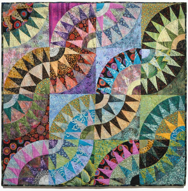 """Melting Pot"" by Jana Schmitt: 'snake trails' variation of a New York Beauty quilt. Posted by Bill Volckening at Wonky World"