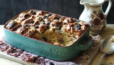 If you're stuck with less than fresh hot cross buns, soak them in gorgeous eggy custard for an Easter monday pud.