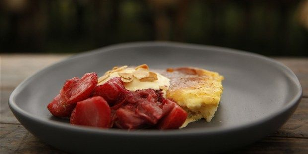 Baked Rice Pudding with Stewed Rhubarb