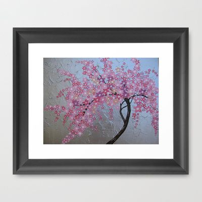 Pink cherry blossom - sakura with silver background Framed Art Print by Cathy Jacobs - $32.00