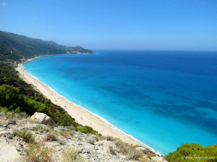 Watch out, those guys on the beach of Pefkoulia are naked! Sandy beach close to Agios Nikitas - Lefkada