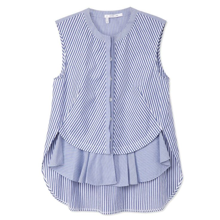 10 Crosby Derek Lam Blue Striped Front Ruffle Top