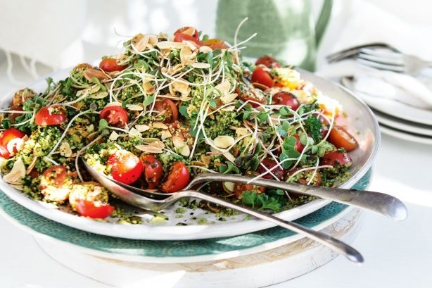 Herbed couscous salad with almonds and tomatoes