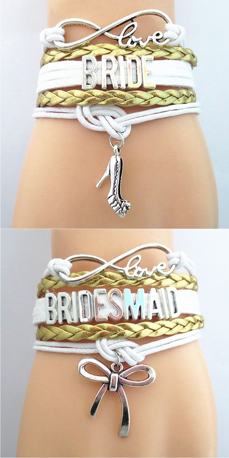 Show off the Bridal Party with these premium Infinity Love hand-made Braided Leather Bracelets! Don't Miss our Sales Event. Makes a great gift for the Bridesmaid or Maid of Honor.