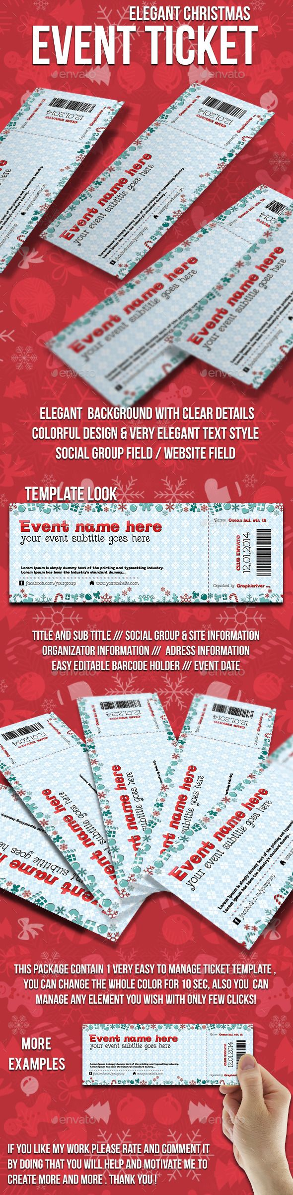 Christmas Event Ticket  Print Tickets Free Template