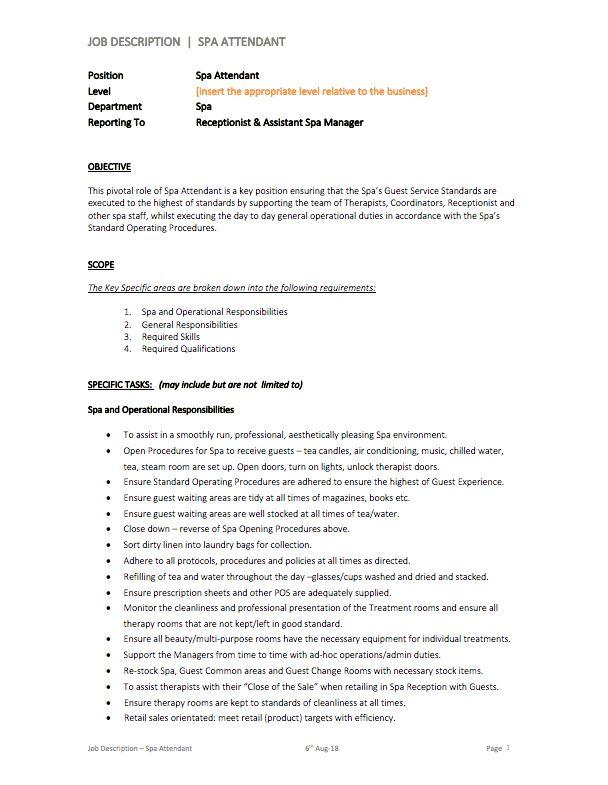 Spa Attendant Job Description Therapies