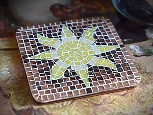 Мозаика. Создаем декор подставки под горячее | Ярмарка Мастеров - ручная работа, handmade