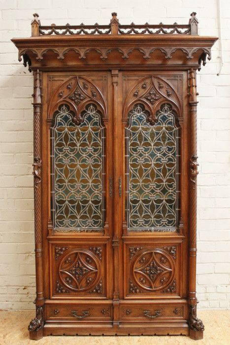 Walnut gothic bookcase with stained glass, 19th century