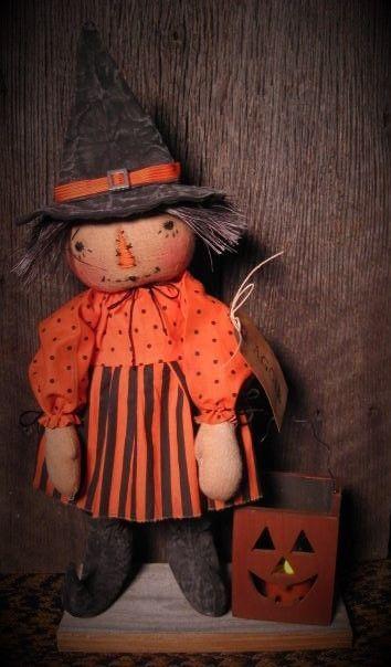 Primitive Folk Art Standing Halloween Witch Doll~Lighted JOL Wooden Box #NaivePrimitive #DustpanDolliesbyPaula