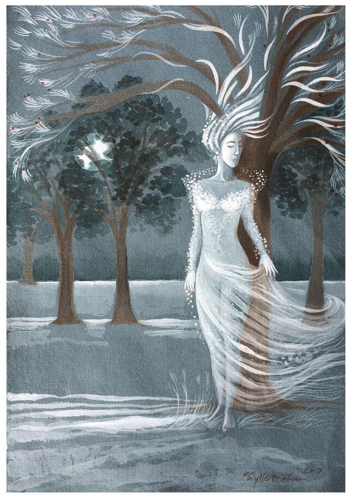 Winter tree on a summer night: Winter tree on a summer night Description: Winter leans against a small tree with her hair flowing… #IrishArt